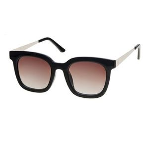 Black & Rose Thick-Frame Square Sunglasses